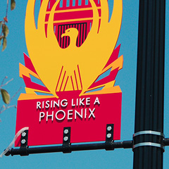 West Haven Rising Like A Phoenix Pole Mounted Banner